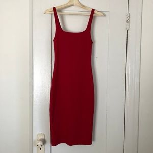 Zara Midi Red Bodycon, scoop neck Dress